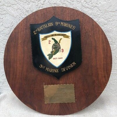 Vintage USMC Vietnam War Plaque 2nd Battalion 9th Marines 3rd Marine Division