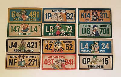 VTG 1976 Walt Disney Productions Stickers LOT of 6 License Plates Wonder Bread