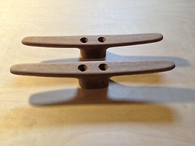 Cleats Teak 8 Inch Wooden Belaying Pair