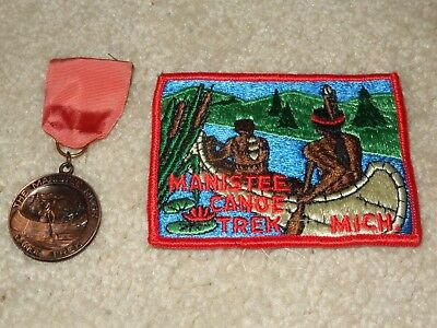 Boy Scout BSA Manistee Canoe Trek Michigan Uniform Award Trail Medal and Patch