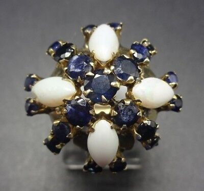 Fine ESTATE Vintage 14k GOLD Harem Cocktail RING Blue SAPPHIRE & OPAL, size 6.75