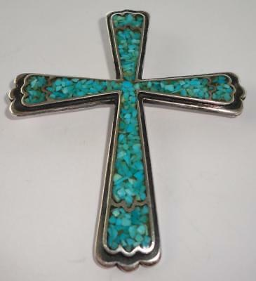 Vintage Native American Sterling Silver Turquoise Cross Pendant-Large!