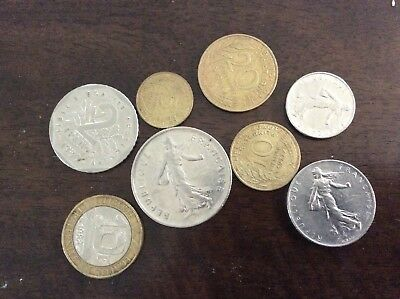 French Franc coins. 8 coins
