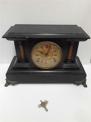 Antique Seth Thomas / Ansonia Lion Heads Wooden Mantle Clock **With Key**