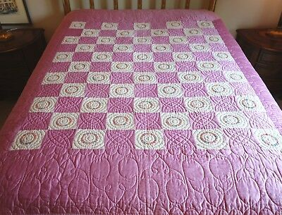 "Pre-1920 FLOWER WREATH WEDDING QUILT Hand/Pieced/Quilted 68""x76"" fm JANNs QUILTs"
