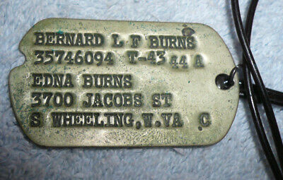 WWII Dog Tag - Next of Kin - Enlisted Personnel W.Va. T43-44