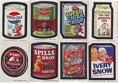 1973-1977 Original Wacky Packages Lot of 16 Different Stickers With Pupsi Cola