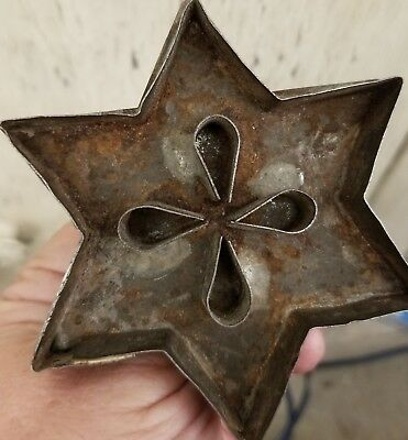 Early Folk Art Tin Cookie Cutter Star Shape w/Flower imprint inside Pa Dutch