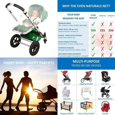 EVEN Naturals Mosquito Net for Stroller, Baby Carrier, Carriage, Infant Car...