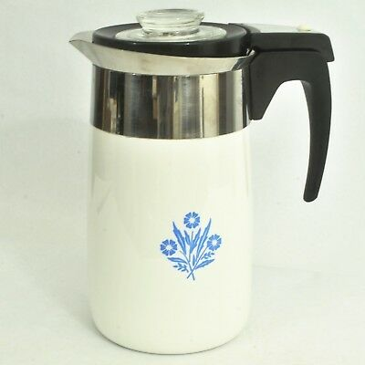 Corning Ware Blue Cornlower 10-Cup Electric Coffee Percolator - Tested Working