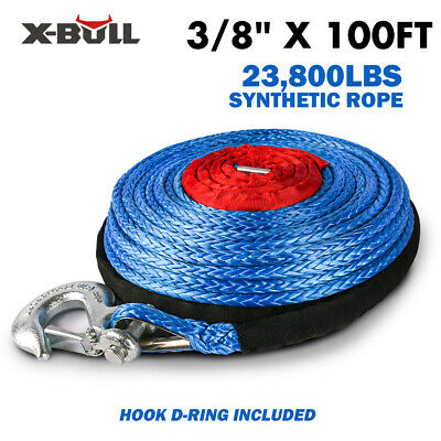 """X-BULL 2/5""""x100ft Blue Synthetic Winch Rope Line Recovery Cable 23000LBS 4WD"""