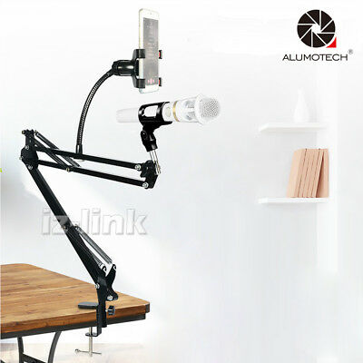 With Mic & Smart Phone Clip Holder Microphone Suspension Boom Scissor Arm Stand