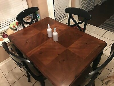 Formal Dining Table With Four Chairs  - Black / Brown Color - Local Pick Up Only