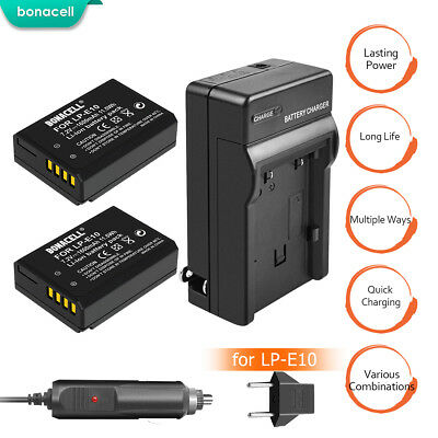 LP-E10 Battery and Charger For Canon Rebel T3 T5 T6 Kiss X50 EOS 1100D 1300D TP