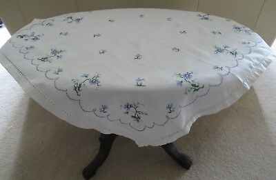 Vintage small WHITE TABLECLOTH with HAND-EMBROIDERED CROSS STITCH blues/greens