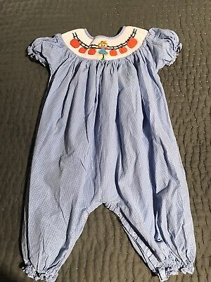 smock monkey 4t romper scarecrow holiday fall autumn thanksgiving pumpkin