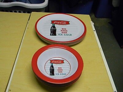 """Coca-Cola Gibson """"Big King Size"""" 6 Plates and 6 Bowls"""