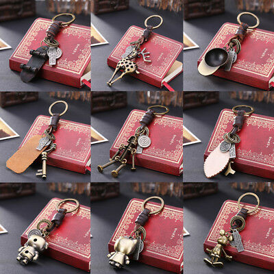 Vintage 3D Cartoon Metal Keyring Keychain Antique Bronze Pendant Key Ring Chain
