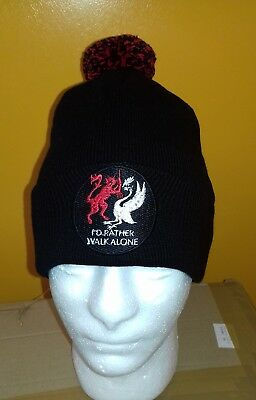 I'd Rather Walk Alone' Embroidered POM POM BEANIE BOBBLE HAT WOOLLY HAT KNITTED