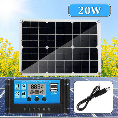20W USB Solar Panel + 10A 12V 24V Solar Controller Kits For Phone RV Car Boats