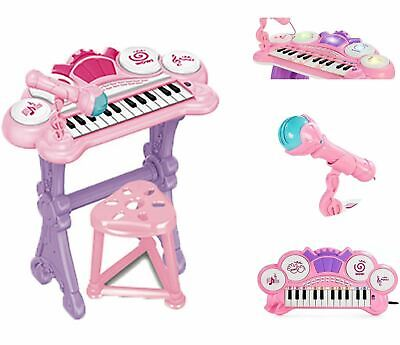 Kids Electronic Keyboard Organ Piano Lights 24 Keys Drums Microphone & Stool