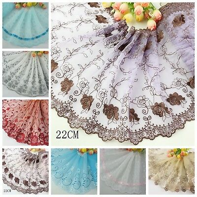 Delicate 1 Yard Embroidered Flower Tulle Lace trim  for DIY/sewing/craft Lace A