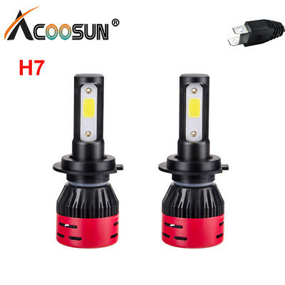 Pair H7 72W 8000LM COB LED Headlight Bulbs Kit High/Low Beams 6000K White Lamp