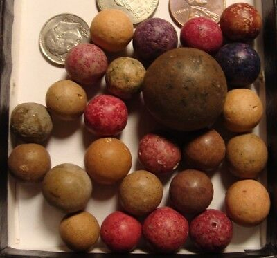 25 Old Vintage Antique Clay Handmade Toy Marbles Collect Civil War To Victorian
