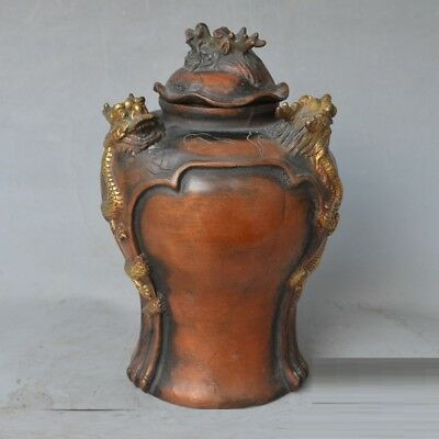 China feng shui Red Copper Gilt carve Three Dragon guard Bottle Jar Pot with Lid