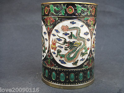 Collectible Decorated Old Handwork Cloisonne Carve Flower Dragon Noble Brush Pot