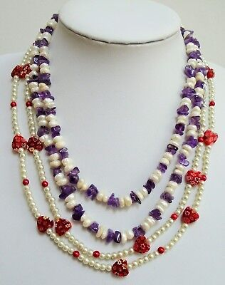 Vintage cultured pearl & amethyst necklace + pearl & glass bead necklace + 1