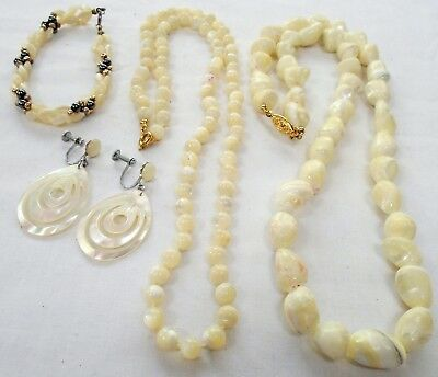 Good vintage hand knotted mother-of-pearl bead necklace + earrings + bracelet +1