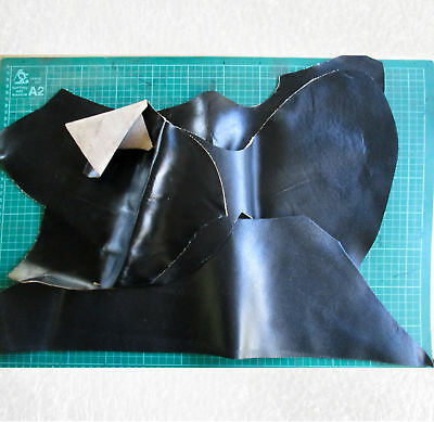 Leather Offcuts 4 pieces black for patching,  180722-1