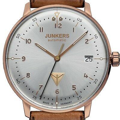 Junkers 6069-4 - Bauhaus Lady's Stahl / Pvd Rosègold 36Mm Automatic Date Neu