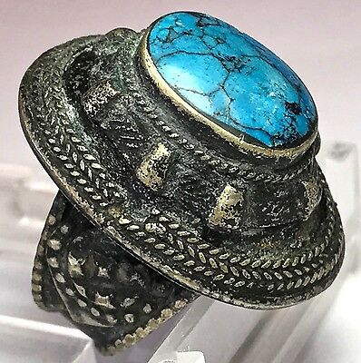 Turkoman Ethnic Ring With Turquoise
