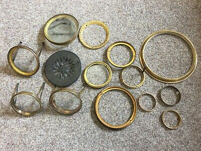 Antique Clock brass bezels doors surrounds Collection x14 pieces
