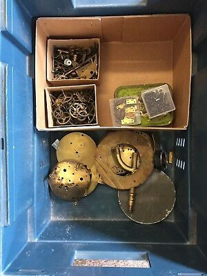 Antique Clock parts large box of barrels hands cherubs plates feet bells etc