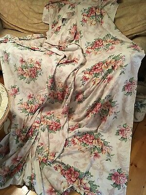 Gorgeous Pair Of  Vintage Curtain Panels Pink Floral Cotton Fabric 1940s #G
