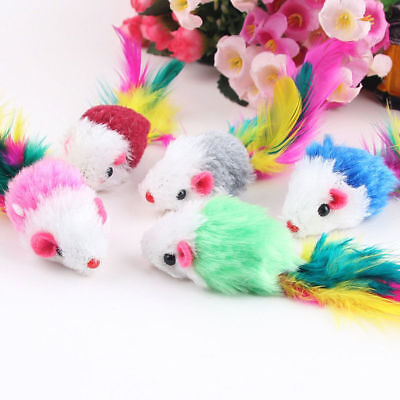 KQ_ 10Pcs/lot Soft Fleece False Mouse Cat Toy Colorful Feather Playing Toys Dazz