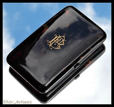 LARGE FINE QUALITY VICTORIAN 18CT GOLD MOUNTED Faux TORTOISESHELL CIGAR CASE