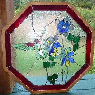 Vintage Octagon leaded stained glass window insert, Hummingbird
