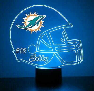 Miami Dolphins NFL Football Night Light Lamp Personalized FREE 16 Color LED Lamp