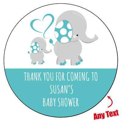 48 x Personalised Baby Shower Mommy Elephant Stickers labels Party bag 830