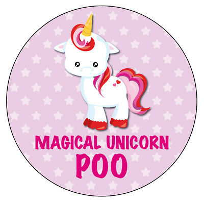 70 x MAGICAL UNICORN POO non personliased Stickers Party Bag Sweet Cone  381