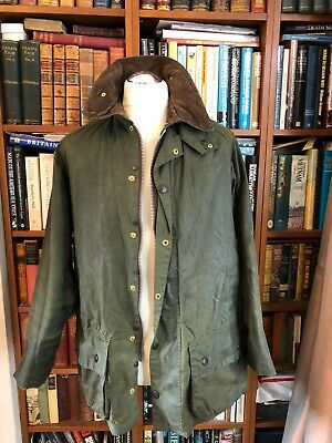 Vintage Wax Barbour Beaufort Green Oversized Jacket Size C40/102Cm