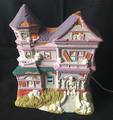 Halloween Ceramic Village House Electric Skeletons at Home Rotating Colors
