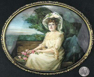 "Antique Portrait in 6"" Black Starr Frost Sterling Silver Frame Southampton, NY"