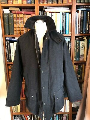 Vintage Barbour Wool Beaufort Black  Jacket Size 48