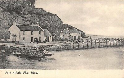 Isle Of Islay Port Askaig Pier Cottages & People Under Cliff Printed Card