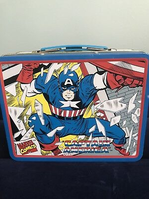 Captain America Small Metal Tin Lunch Box 1998